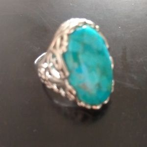 Size 6 Marbled Turquoise Ornate Sterling Setting